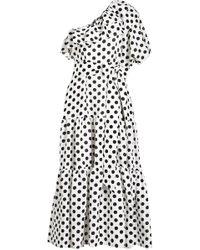 Lisa Marie Fernandez - Gepunktetes One-Shoulder-Kleid Arden aus Leinen - Lyst