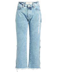 Natasha Zinko - High-waist Stonewash Cropped Jeans - Lyst