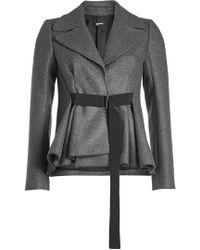 Jil Sander Navy - Belted Tweed Jacket With Wool - Lyst