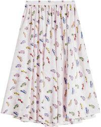 Sandy Liang - Linguini Printed Silk Skirt - Lyst