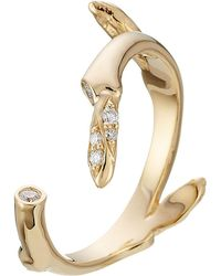 Sophie Bille Brahe - Fleur Marriage 18kt Gold Ring With White Diamonds - Lyst