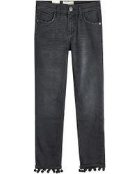 Current/Elliott - Cropped Straight Jeans With Pom-pom Trim - Lyst