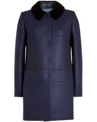 Tara Jarmon | Coat With Wool, Cashmere And Faux Fur Collar | Lyst