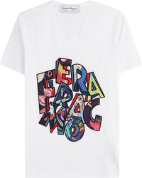 Ferragamo - Printed Cotton T-shirt - Lyst