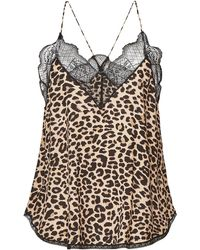 Zadig & Voltaire - Christy Animal Print Camisole With Lace - Lyst