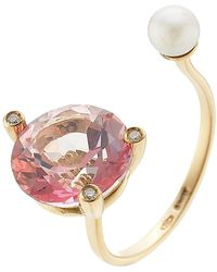 Delfina Delettrez - 18kt Gold Ring With Pink Topaz, White Diamonds And Pearl - Lyst