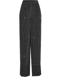 Karl Lagerfeld - Pinstriped Silk Wide Leg Pants - Lyst