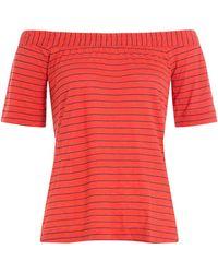 Splendid - Striped Top With Bardot Shoulders - Lyst