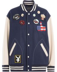 Marc Jacobs | Wool Blend Bomber Jacket With Patches | Lyst