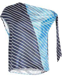 Tibi - Delphina Striped Silk Top - Lyst
