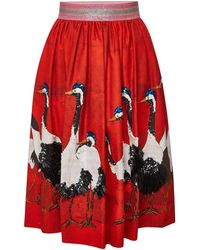 Stella Jean - Printed Cotton Skirt With Embellishment - Lyst