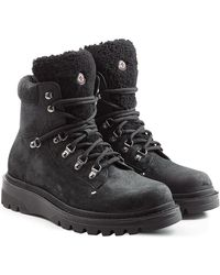 Moncler - Suede And Shearling Boots - Lyst