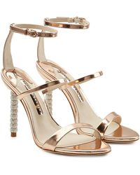 Sophia Webster - Rosalind Metallic Leather Sandals With Embellished Heels - Lyst