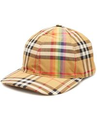 Burberry - Checked Cotton Baseball Cap - Lyst