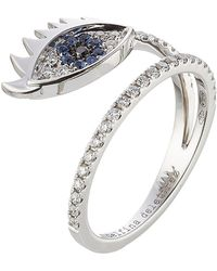 Delfina Delettrez - 18kt White Gold Ring With Diamonds And Sapphires - Lyst