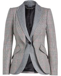 Alexander McQueen - Double Lapel Layered Blazer In Virgin Wool And Mohair - Lyst