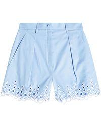 Carven | Cotton Shorts With Eyelet Hem | Lyst