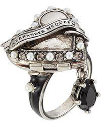 Alexander McQueen - Heart Embellished Locket Ring - Lyst