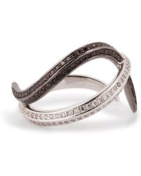 Nikos Koulis - 18kt Gold Thumb Ring With Black And White Diamonds - Lyst