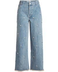 Sandy Liang - Ghost Embellished Jeans - Lyst