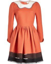 Fendi - Color-blocked Long-sleeved Mini Dress  - Lyst