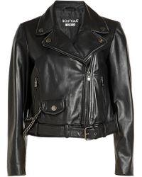 Boutique Moschino - Leather Biker Jacket - Lyst