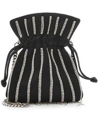 Les Petits Joueurs - Nano Trilly Disco Stripes Embellished Satin Pouch - Lyst