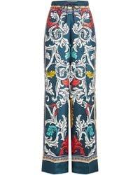 Mary Katrantzou - Printed Silk Trousers - Lyst