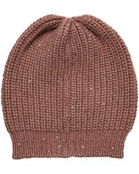 Brunello Cucinelli - Cashmere Hat With Silk And Sequins - Lyst