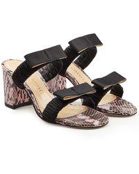 Chloe Gosselin - Posy Snake Leather And Silk Sandals - Lyst