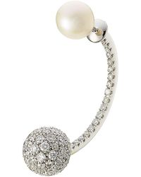 Delfina Delettrez - 19kt White Gold Sphere Earring With Diamonds And Pearl - Lyst