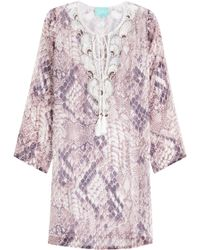 Taj - Printed Silk Tunic With Beading - Lyst