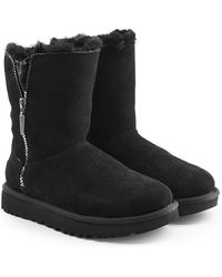 UGG - Suede Boots With Zipped Side And Shearling Insole - Lyst