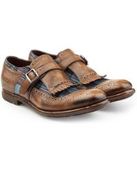 Church'sLeather Monk Shoes with Printed Fabric Gr. UK 7.5 RaXeIEEN