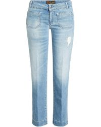 The Seafarer - Cropped Jeans With Distressed Detail - Lyst