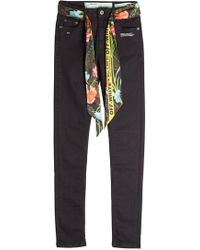 Off-White c/o Virgil Abloh - Skinny Jeans With Printed Belt - Lyst