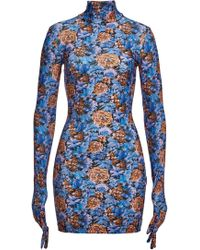 Vetements - Floral Print Glove Sleeve Dress In Blue - Lyst