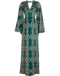 DHELA - Printed Silk Gown With Open Back - Lyst