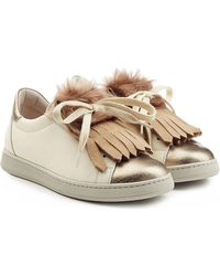 Brunello Cucinelli - Leather Trainers With Fur - Lyst