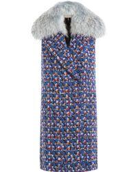 Emilio Pucci - Virgin Wool Sleeveless Coat With Fur Collar - Multicolour - Lyst