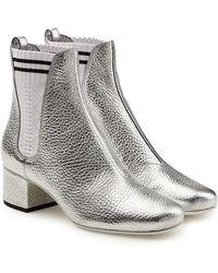Fendi - Metallic Leather Ankle Boots - Lyst