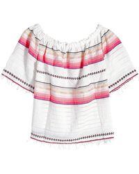 lemlem - Printed Cotton Off-shoulder Top - Lyst