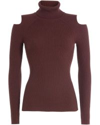 Theory - Wool Turtleneck Pullover With Cut-out Shoulders - Lyst