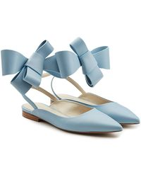 Delpozo - Leather Bow Ballerinas - Lyst
