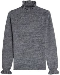 Shrimps - Wool Turtleneck Pullover With Ruffles - Lyst