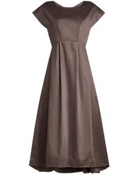 Jil Sander Navy - Cotton Dress With Full Skirt - Lyst