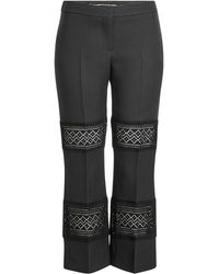 Alexander McQueen - Wool And Silk Pants With Lace Panels - Lyst