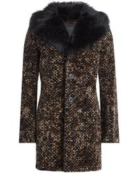 Marc Jacobs - Printed Cotton Coat With Faux Fur Collar - Lyst