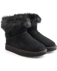 UGG - Suede Ankle Boots With Fur - Lyst