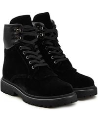 Moncler - Patty Velvet Ankle Boots With Leather - Lyst